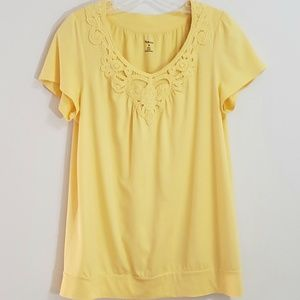 Style & Co. Knit Top, Yellow, Sz M